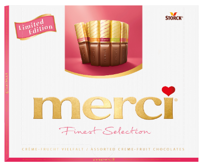 merci Creme Fruit Variety 250g - Spécialités de chocolats fourrés, au goût de fruits