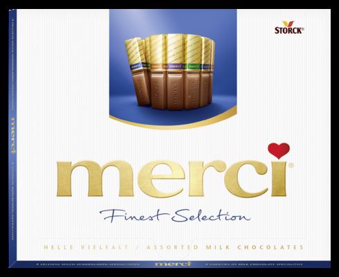 merci Finest Selection lait 250g - Spécialités de chocolat au lait fourrés et non-fourrés.