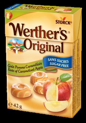 Werther's Original Sans Sucres Goût Pomme Caramélisée - Bonbons sans sucres à la crème avec arôme pomme et édulcorants