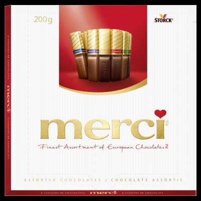 merci Great Variety 200g - Spécialités de chocolat fourré et non fourré.