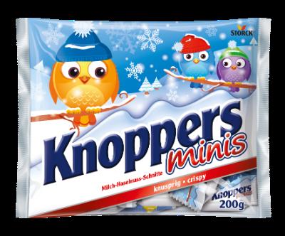 Knoppers Minis Winter - Gaufrette fourrée (fourré crème au lait 30,4 %, fourré pâte de noisettes 29,4 %)