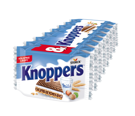 Knoppers 8 pièces - Gaufrette fourrée (fourrage au lait 30,2%, fourrage à la pâte de noisettes 29,4%)
