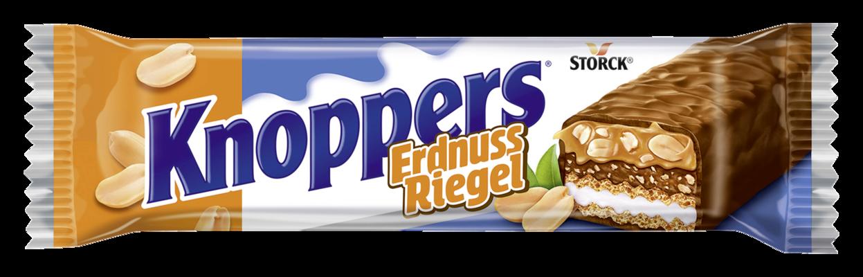 Knoppers ErdnussRiegel 1 pièce - Gaufrette avec crème de lait (14,4%), crème d'arachides (14%), arachides hachées salées (13,4%) et caramel mou (22,1%), enrobée de chocolat au lait entier (29,5%)