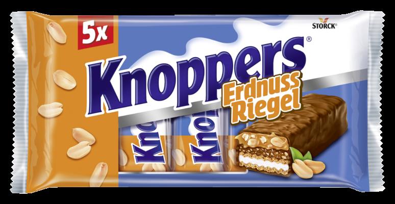 Knoppers ErdnussRiegel 5 pièces - Gaufrette avec crème de lait (14,4%), crème d'arachides (14%), arachides hachées salées (13,4%) et caramel mou (22,1%), enrobée de chocolat au lait entier (29,5%)