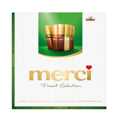 merci chocolat aux amandes 200g - Spécialités de chocolat avec éclats d'amandes croustillants (9,2%).
