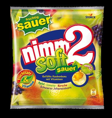 nimm2 soft acidulé - Tendres bonbons fourrés et fruités, avec des vitamines