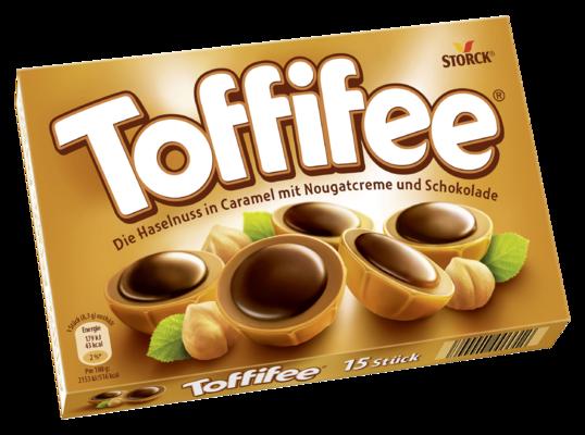 Toffifee 15 pieces - (B) (F) Une noisette (10 %) enrobée de caramel (41 %) et de pâte de noisettes (37 %), recouverte de chocolat (12 %). (CH) Une noisette (10 %) enrobée de caramel (41 %) et de crème de nougat (37 %), recouverte de chocolat (12 %).