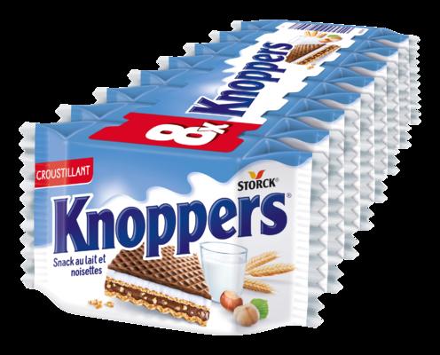 Knoppers - Gaufrette fourrée (fourrage au lait 30,4%, fourrage à la pâte de noisettes 29,4%)