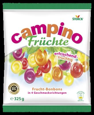 Campino Früchte - Fruchtbonbons in den Geschmacksrichtungen: Zitrone, Orange, Kirsche und Schwarze Johannisbeere