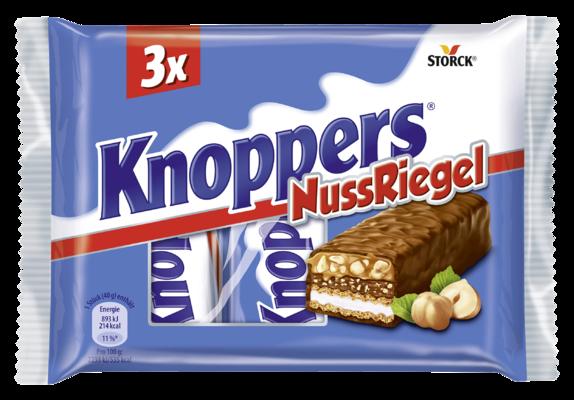 Knoppers NussRiegel 3er - Waffelriegel mit Milchcreme (14,4%), Nugatcreme (14,1%), gehackten Haselnüssen (13,4%) und zartem Karamell (22,2%), umhüllt von Vollmilchschokolade (29,5%)