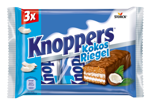 Knoppers NussRiegel Kokos 3er - Waffelriegel mit Milchcreme (14,4%), Kokoscreme verfeinert mit Haselnüssen (17%), Kokosraspeln (6,5%) und zartem Karamell (26,1%), umhüllt von Vollmilchschokolade (29,5%)