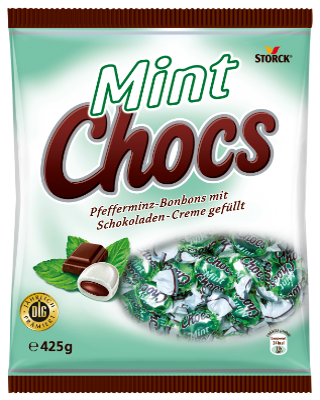 Mint Chocs - Feine Pfefferminz-Bonbons mit Schokoladencreme-Füllung (20%)