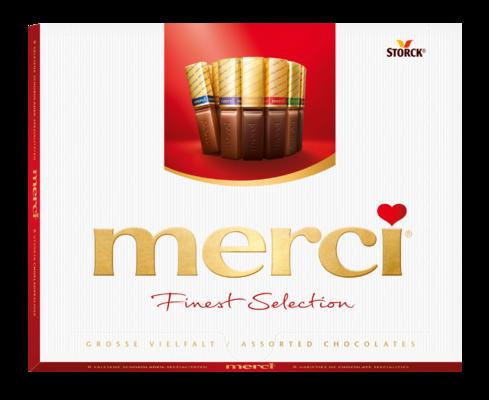 merci Große Vielfalt 250g - Gefüllte und nicht gefüllte Schokoladen-Spezialitäten.