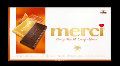 merci Tafelschokolade Orange-Mandel - Edel-Bitterschokolade mit Mandelstückchen (6%) und konzentriertem Orangensaft (2%)