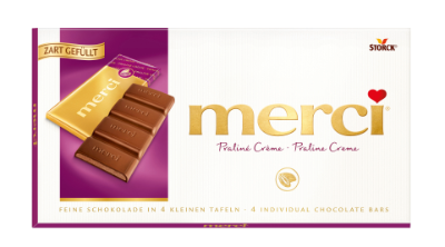 merci Tafelschokolade Praliné - Edel-Vollmilchschokolade mit Milch-Praliné-Füllung (42%)