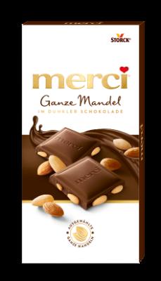 merci Ganze Mandel in Dunkler Schokolade - Edel-Zartbitterschokolade mit ganzen Mandeln (27%)