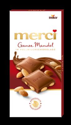 merci Ganze Mandel in Vollmilchschokolade - Edel-Vollmilchschokolade mit ganzen Mandeln (27%)