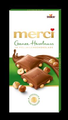 merci Ganze Haselnuss in Vollmilchschokolade - Edel-Vollmilchschokolade mit ganzen Haselnüssen (27%)