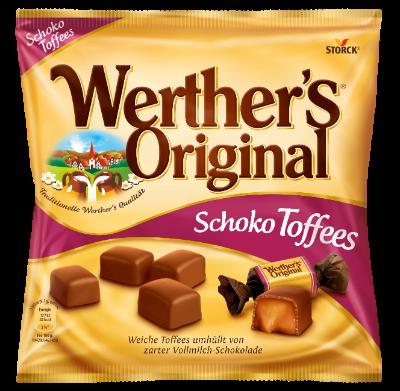 Werther's Original Schokoladen Toffees - Karamelltoffees mit Vollmilchschokolade (30%) überzogen