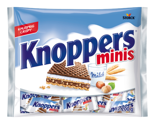 Knoppers minis - Gefüllte Waffelschnitte (Milchcremefüllung 30,2%, Nugatcremefüllung 29,4%)