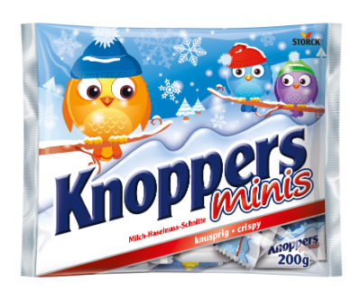 Knoppers Minis Winter - Gefüllte Waffelschnitte (Milchcremefüllung 30,4 %, Nugatcremefüllung 29,4 %)
