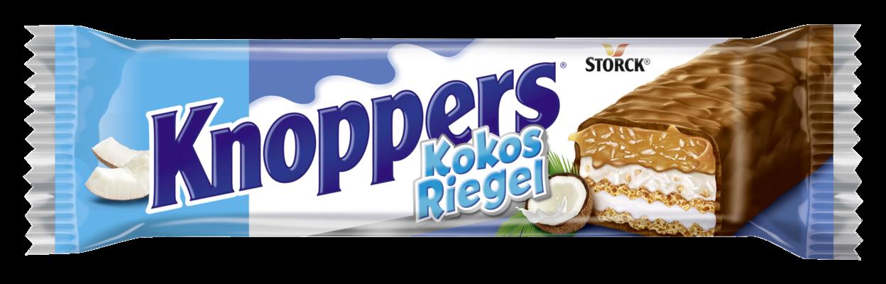 Knoppers KokosRiegel 1er - Waffelriegel mit Milchcreme (14,4%), Kokoscreme verfeinert mit Haselnüssen (17%), Kokosraspeln (6,5%) und zartem Karamell (26,1%), umhüllt von Vollmilchschokolade (29,5%)