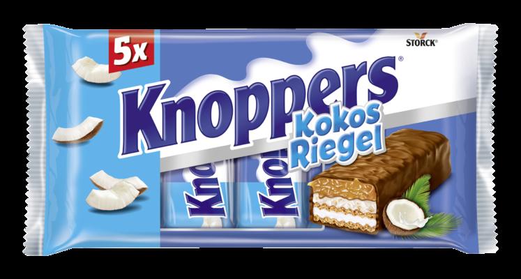 Knoppers KokosRiegel 5er - Waffelriegel mit Milchcreme (14,4%), Kokoscreme verfeinert mit Haselnüssen (17%), Kokosraspeln (6,5%) und zartem Karamell (26,1%), umhüllt von Vollmilchschokolade (29,5%)