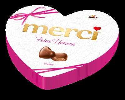 merci feine Herzen Praliné - Edel-Vollmilchschokolade mit Milch-Praliné-Füllung (45%)