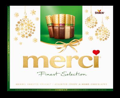 merci Mandel Knusper Vielfalt 250g Neujahr - Schokoladen-Spezialitäten mit Mandel (9,2%)-Knusper-Stückchen.