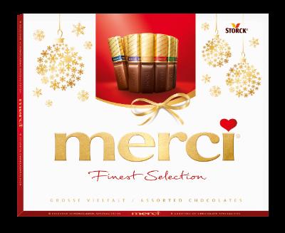 merci Große Vielfalt 250g Weihnachten - Gefüllte und nicht gefüllte Schokoladen-Spezialitäten.