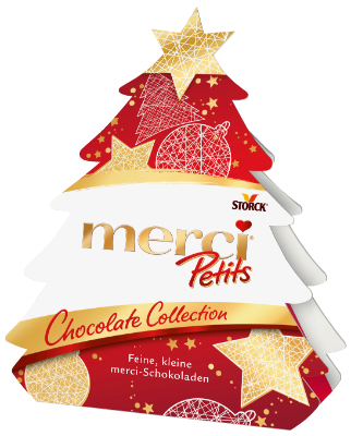 merci Petits Chocolate Collection Tanne - Mischung von gefüllten und nicht gefüllten Schokoladen-Spezialitäten.