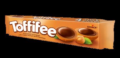 Toffifee 4 Stück - Die Haselnuss (10 %) in Caramel (41 %) mit Nougatcreme (37 %) und Schokolade (12 %).