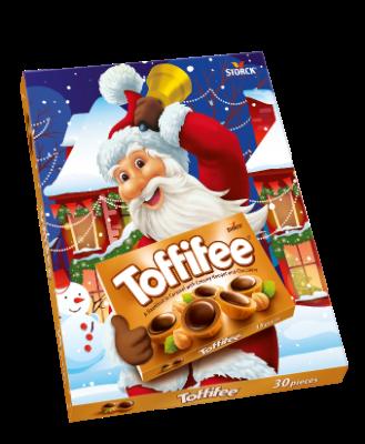 Toffifee 30 Stück Weihnachts Design - Die Haselnuss (10 %) in Caramel (41 %) mit Nougatcreme (37 %) und Schokolade (12 %).