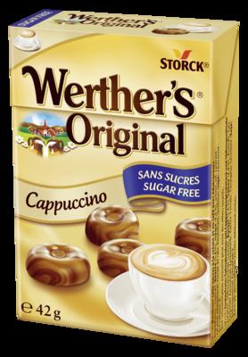Werther's Original Cappuccino zuckerfrei - Zuckerfreies Sahnebonbon mit Cappuccinogeschmack und Süßungsmitteln