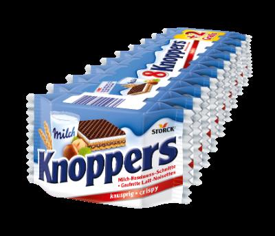 Knoppers 8+2 - Gefüllte Waffelschnitte (Milchcremefüllung 30,4%, Nugatcremefüllung 29,4%)