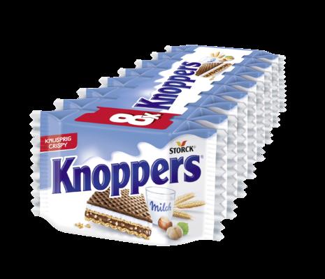Knoppers 8er - Gefüllte Waffelschnitte (Milchcremefüllung 30,4%, Nugatcremefüllung 29,4%)