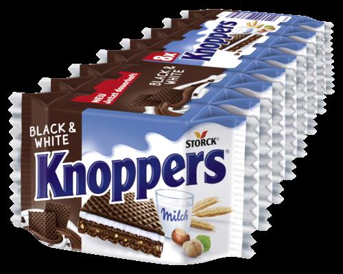 Knoppers Black&White - Gefüllte Waffelschnitte (Milchcremefüllung 30,3%, Nugatcremefüllung 29,8% mit Gebäckstückchen 1,6%)