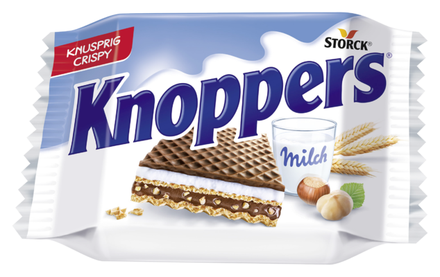 Knoppers - Gefüllte Waffelschnitte (Milchcremefüllung 30,2%, Nugatcremefüllung 29,4%)