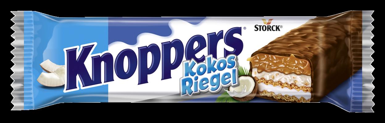 Knoppers KokosRiegel - Waffelriegel mit Milchcreme (14,4%), Kokoscreme verfeinert mit Haselnüssen (17%), Kokosraspeln (6,5%) und zartem Karamell (26,1%), umhüllt von Vollmilchschokolade (29,5%)