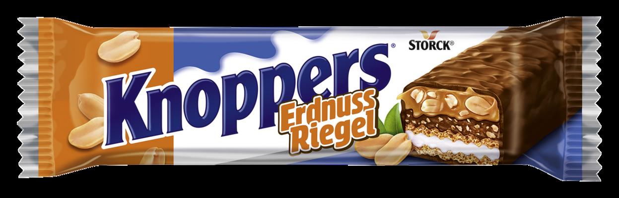 Knoppers ErdnussRiegel - Waffelriegel mit Milchcreme (14,4%), Erdnusscreme (14%), gesalzenen, gehackten Erdnüssen (13,4%) und zartem Karamell (22,1%), umhüllt von Vollmilchschokolade (29,5%)