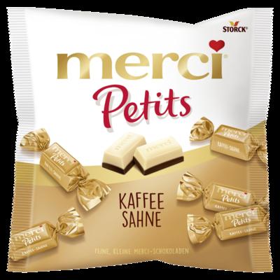 merci Petits Kaffee Sahne - Weiße Schokolade (43%) auf Edel-Kaffee-Sahneschokolade (57%)
