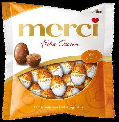 merci Ostereier Edel-Nougat - Edel-Vollmilchschokolade mit einer Edel-Nougatfüllung (40%)