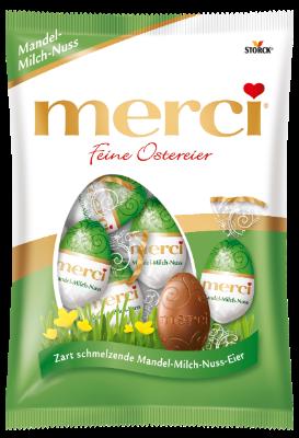 merci Saison Feine Ostereier Mandel-Milch-Nuss - Edel-Vollmilchschokolade mit Haselnuss- (8%) und Mandelstückchen (2,7%)