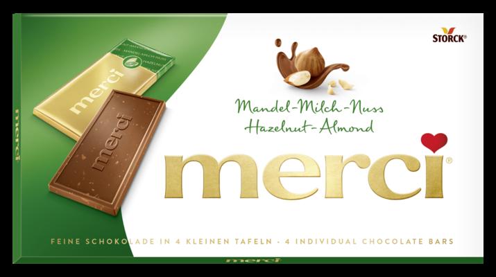 merci Tafelschokolade Mandel-Milch-Nuss - Edel-Vollmilchschokolade mit Haselnuss- und Mandelstückchen