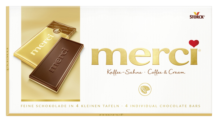 merci Tafelschokolade Kaffee-Sahne - Edel-Kaffee-Sahneschokolade (55%) auf Weißer Schokolade (45%)