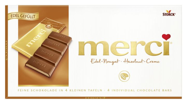 merci Tafelschokolade Nougat - Edel-Vollmilchschokolade mit Edel-Nougatfüllung (43%)