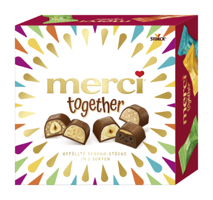 merci together - Mischung von gefüllten Edel-Vollmilchschokoladen-Pralinen.
