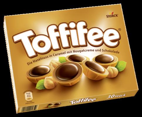 Toffifee 30 Stück - Die Haselnuss (10 %) in Caramel (41 %) mit Nougatcreme (37 %) und Schokolade (12 %).