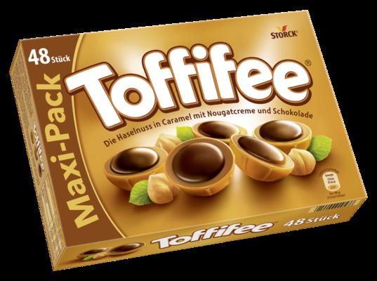 Toffifee 48 Stück - Die Haselnuss (10 %) in Caramel (41 %) mit Nougatcreme (37 %) und Schokolade (12 %).