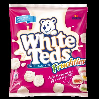 White Teds Milchbärchen Fruchties - Weiche, gefüllte Fruchtgummis mit Magermilch und Honig